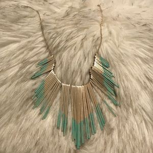 Gold and Blue Statement Necklace